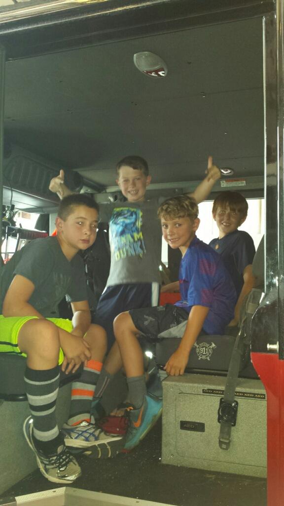 Boys in fire truck