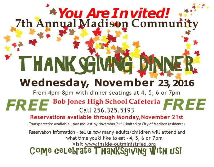 7th Annual – Free Community Thanksgiving Dinner