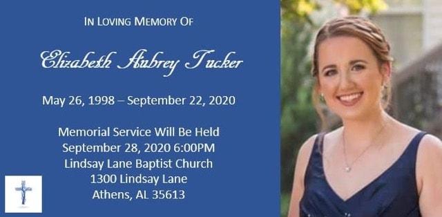 Memorial Service Arrangements – Elizabeth Aubrey Tucker
