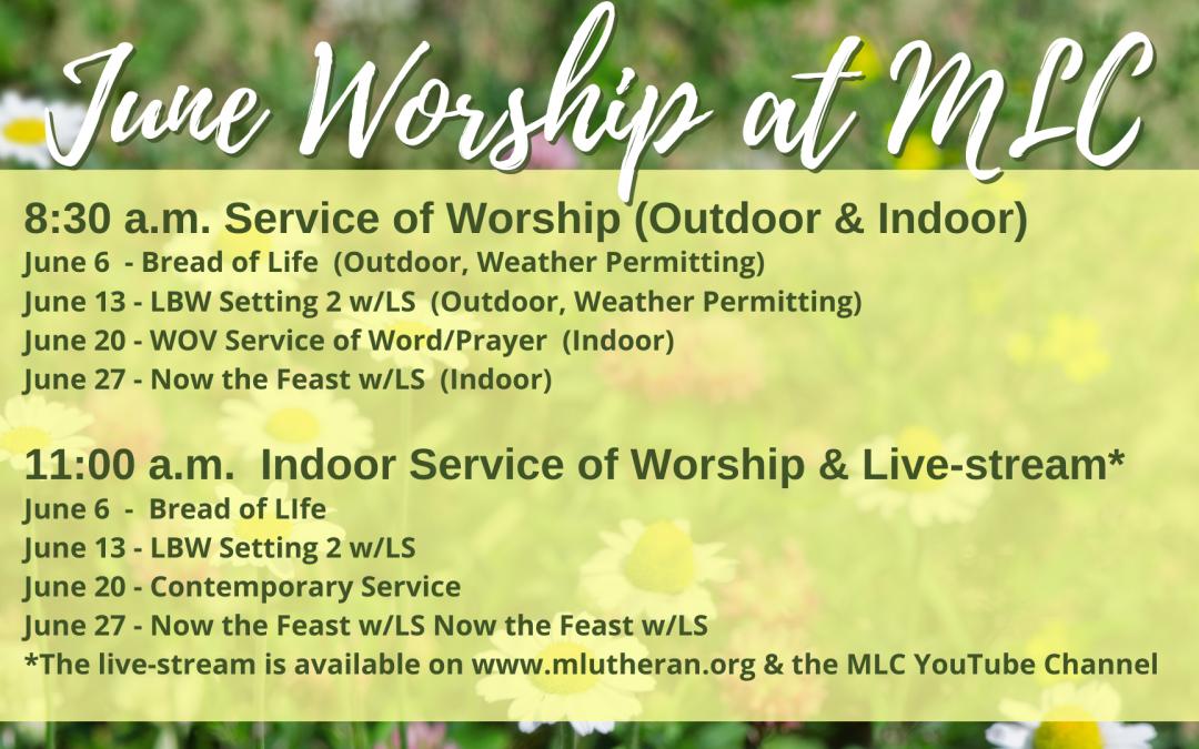 June 2021 Service of Worship Schedule
